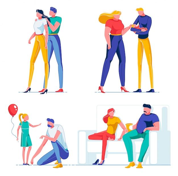 Man en vrouw tekens in mooie relatie.