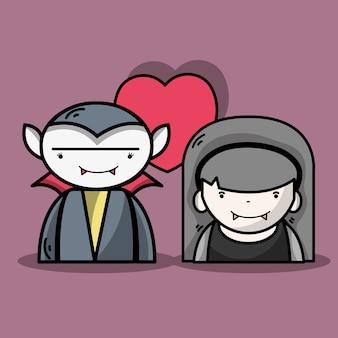 Man en vrouw vampières koppelen met hart