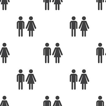 Man en vrouw, vector naadloos patroon, bewerkbaar kan worden gebruikt voor webpagina-achtergronden, opvulpatronen