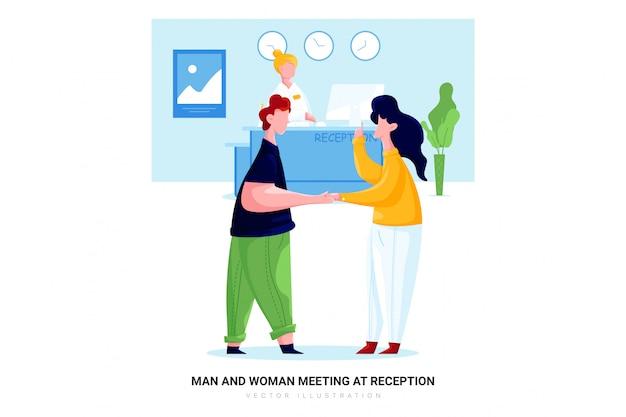Man en vrouw vergadering bij de receptie