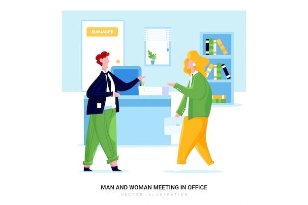 Man en vrouw vergadering in office