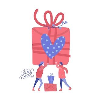 Man en vrouw verliefd met grote doos met cadeau. vriend en vriendin geschenken geven