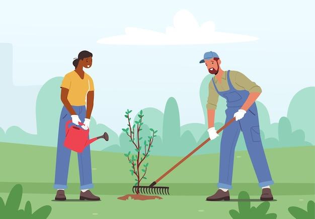 Man en vrouw vrijwilligerspersonages verzorging van planten water geven uit can