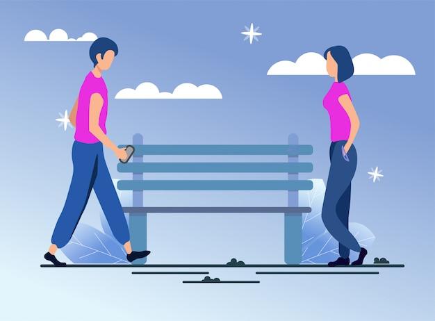 Man en vrouw wandelen, toevallige vergadering cartoon