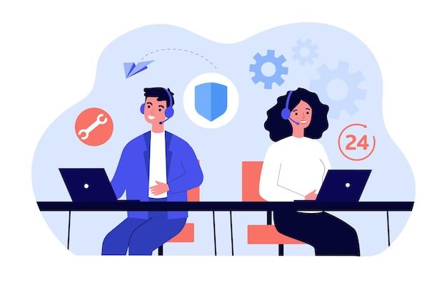 Man en vrouw werken binnen 24 uur in callcenter. platte vectorillustratie. jongeren met headsets die oproepen beantwoorden in het ondersteunings- of servicecentrum. communicatie, ondersteuning, helpconcept