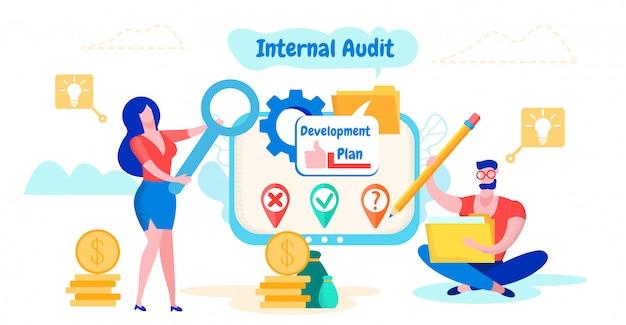 Man en vrouw werken met documenten. interne audit.
