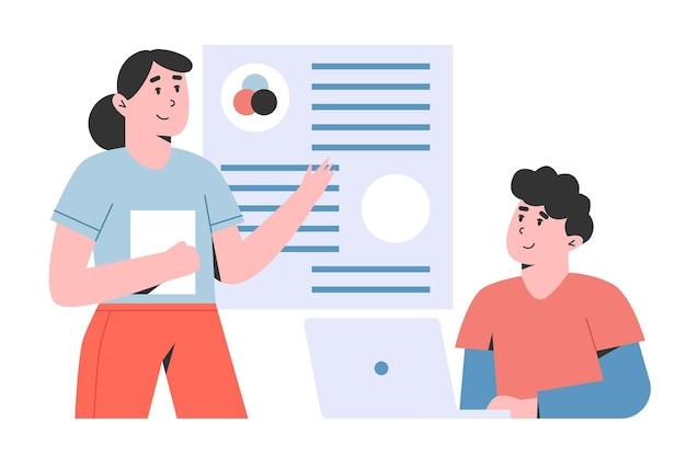 Man en vrouw werknemers op zakelijke training