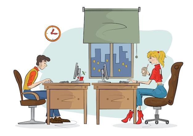 Man en vrouw werkt op de computer. illustratie