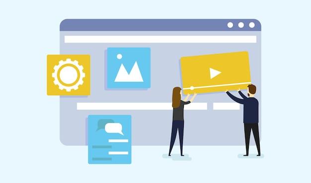 Man en vrouw zetten videopictogram op webpagina op het scherm