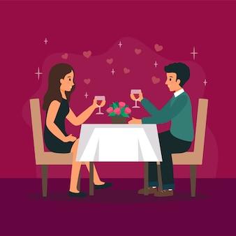 Man en vrouw zijn in het restaurant op de romantische date.
