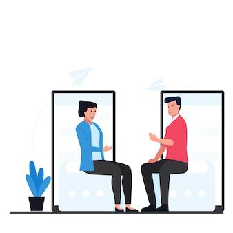Man en vrouw zitten en praten met telefoon achter metafoor van online gesprek.