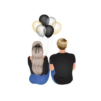 Man en vrouw zitten samen dating concept paar vectorillustratie