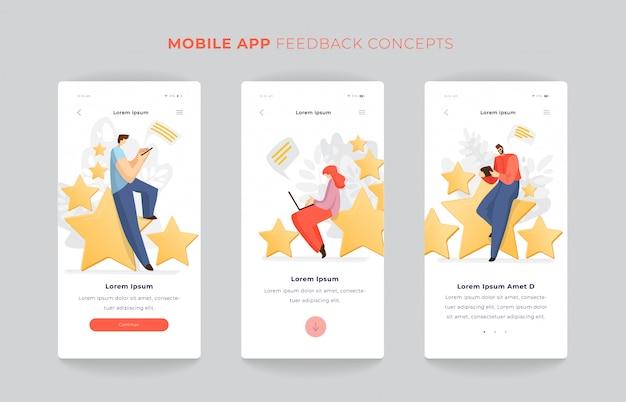 Man en vrouw zittend op grote rating sterren app scherm ingesteld