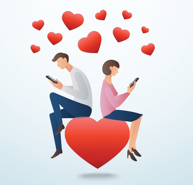 Man en vrouw, zittend op het rode hart