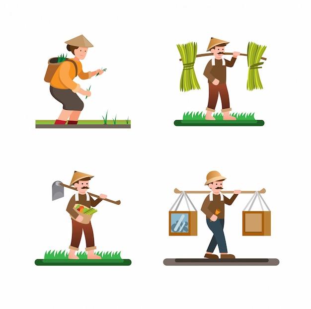 Man en vrouwenactiviteiten in vector van de de inzamelings de vastgestelde illustratie van het landbouwbedrijfdorp