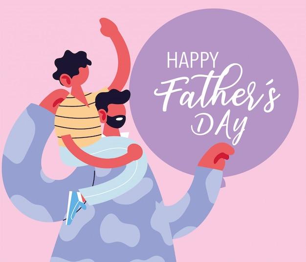 Man en zoon, kaart van de gelukkige vaderdag