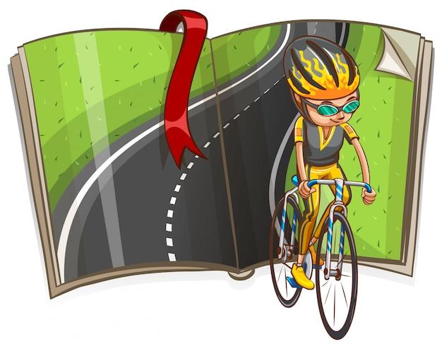 Man fietsen en lege weg in het boek