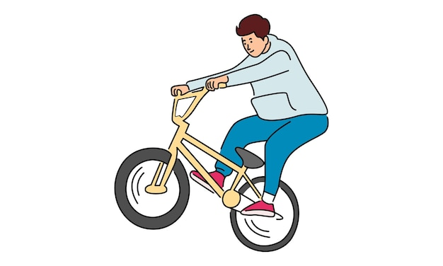 Man fietsen geïsoleerd op wit