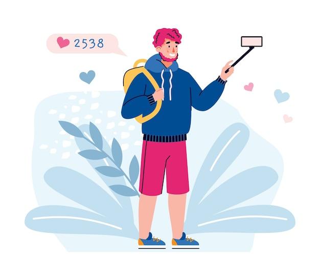 Man filmt reisvlog met mobiele telefoon. vlogger krijgt likes en views op zijn reisvideo,