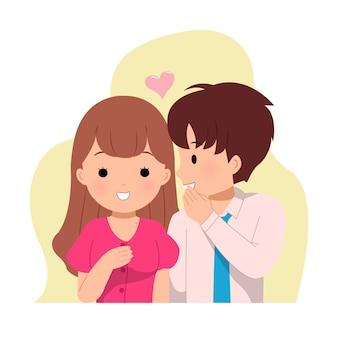 Man fluistert tegen een vrouw. dating stel. gelukkig nieuws delen. een geheim vertellen.