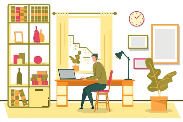 Man freelancer zittend op een stoel met laptop