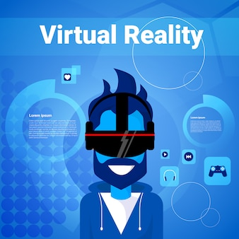 Man gaming wear virtual reality glasses modern vr goggles technology concept