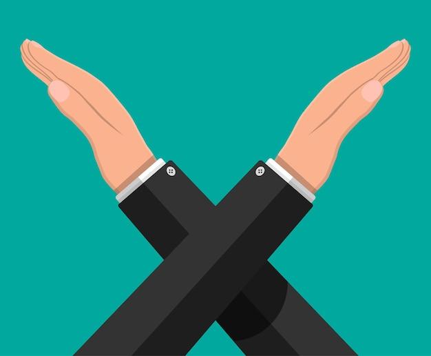 Man gebaren kruis handen. zeg geen gebaar. boycot, protest of afwijzing. armen kruisen. negatief of stopsymbool. verbod en ontkenning expressie. vectorillustratie in vlakke stijl