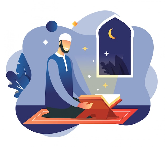 Man gebed in de nacht van ramadan mubarak eid fitr