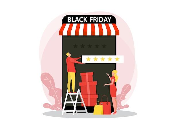 Man geeft 5 sterren, feedback en beoordeling op zwarte vrijdag. vlakke afbeelding voor het web