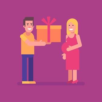 Man geeft zijn zwangere vrouw een groot cadeau. platte mensen. vectorillustratie