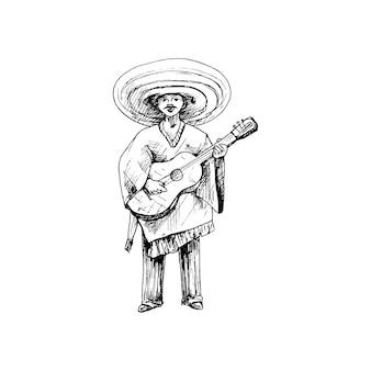 Man gekleed traditionele mexicaanse poncho en sombrero gitaar spelen vintage vector hatching