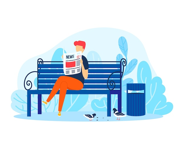 Man gelezen krant in park, mannelijke persoon ontspannen illustratie. kerelkarakter bij bank, volwassen levensstijl buiten achtergrond. mensen zitten met cartooninformatie, vrolijke grafische mens in de natuur.