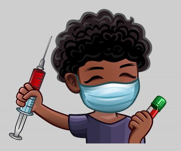 Man gelukkig in medische masker met spuit
