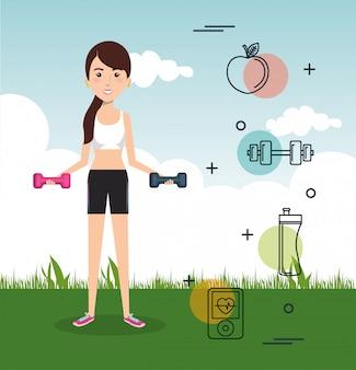 Man gewichtheffen met sport pictogrammen