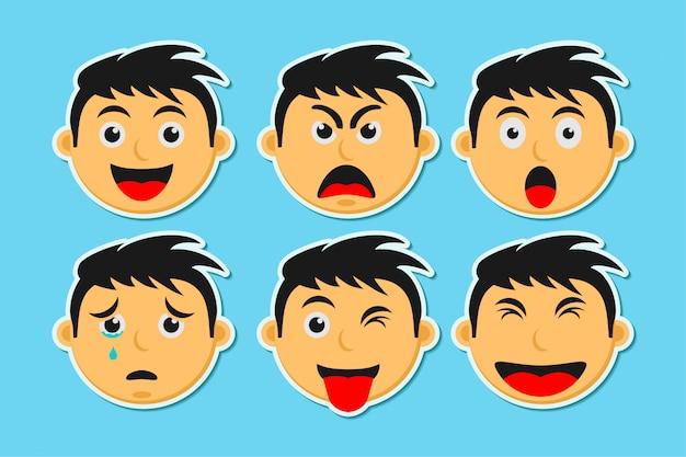 Man gezicht met emoties, man emotie instellen