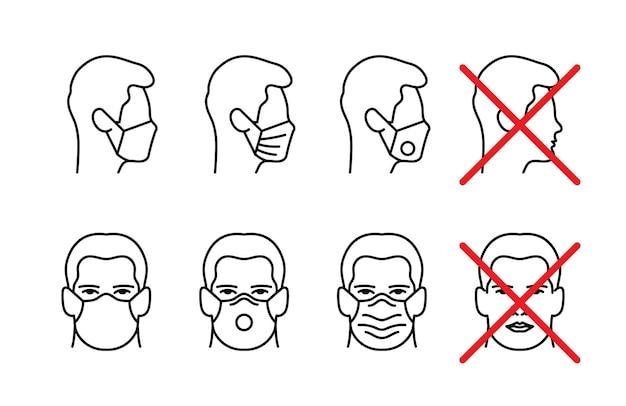 Man gezicht met masker pictogram vector in trendy vlakke stijl geïsoleerd op een witte achtergrond