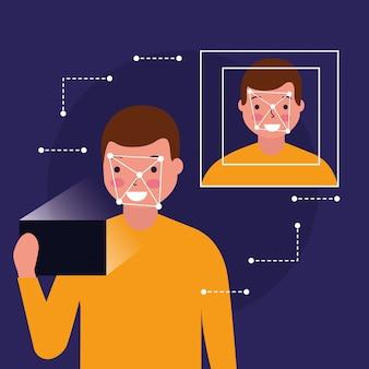 Man gezicht scan biometrische digitale technologie