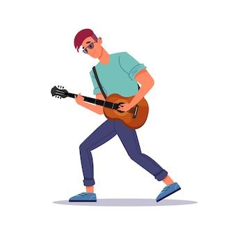 Man gitaar spelen, gitarist en snaarinstrument geïsoleerde platte cartoon persoon