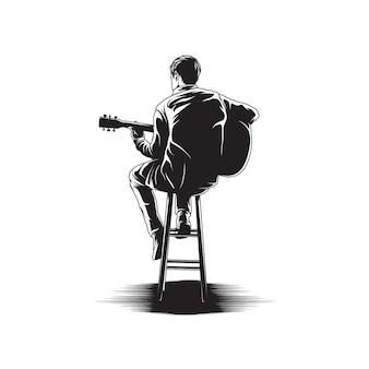 Man gitaarspelen illustratie
