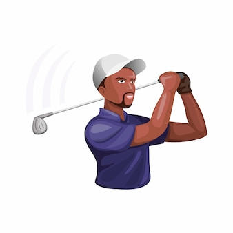 Man golf atleet karakter, donkere huid man spelen en swing stick golf in cartoon afbeelding
