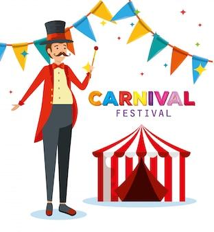 Man goochelaar kostuum met circus en partij banner
