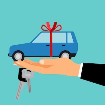 Man hand met geschenk auto