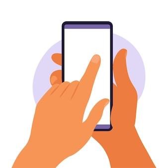 Man hand met smartphone met leeg wit scherm. met behulp van mobiele slimme telefoon. platte ontwerpconcept. vector illustratie