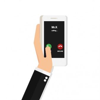 Man hand met witte smartphone