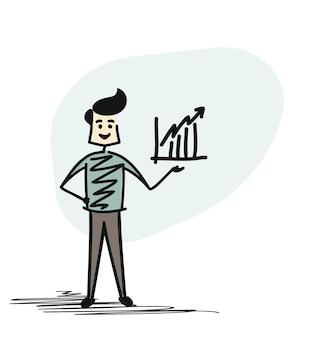 Man hand met zakelijke grafiek pictogram. cartoon hand schets concept geïsoleerde vectorillustratie.