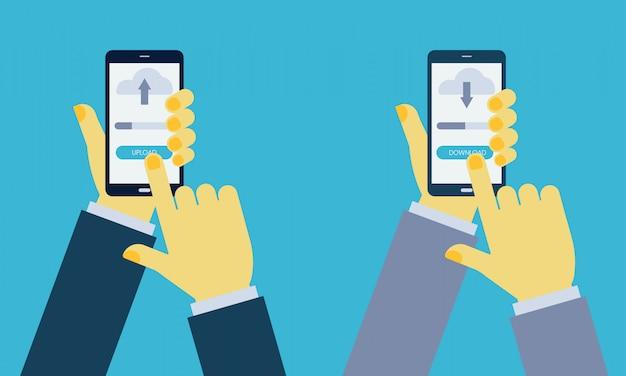 Man handen met smartphone met uploaden en downloaden knop, vinger aanraken van smartphone-scherm.