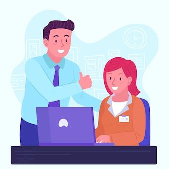 Man helpt stagiair op de nieuwe baan
