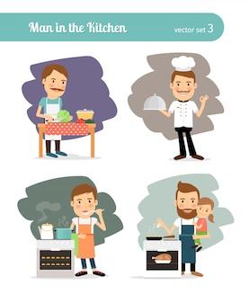 Man, het koken, in, keuken.