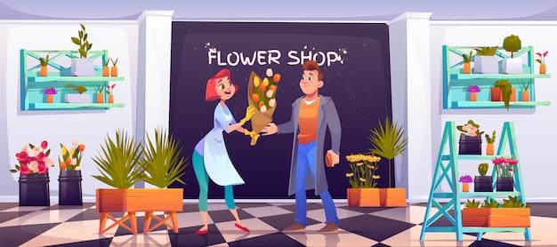 Man het kopen boeket in bloemenwinkel, floristische winkel