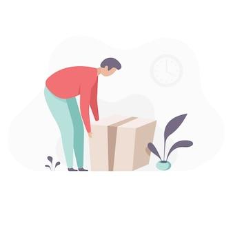 Man hijs kartonnen dozen. een man pakt een doos van de vloer. vlakke afbeelding. groot pakket in een doos